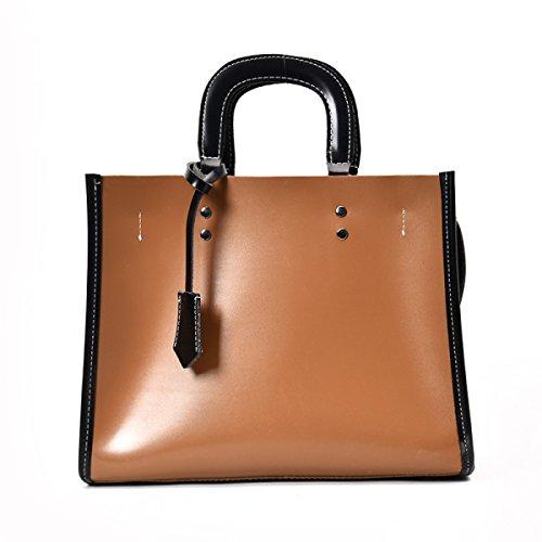 PDFGO Handtaschen Große Kapazität Mezzanine Tasche Handtasche Ölhaut Reißverschluss Einfarbige Tasche Umhängetasche Tote Tasche Brown