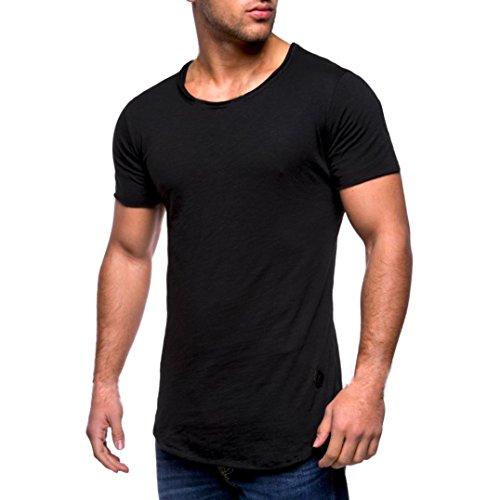Herren Shirt, Casual Basic Einfarbige Rundhalsausschnitt Slim Fit Verschiedene Tee Kurzarm T-Shirt Sportswear Sweatshirt Tanktop (M, Schwarz)
