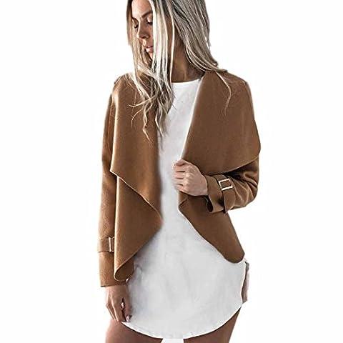 Vovotrade ❀❀ Femmes Cardigan en Laine Tops à Manches Longues Cascade Vestes Outwear Casual (Size:M, Kaki)