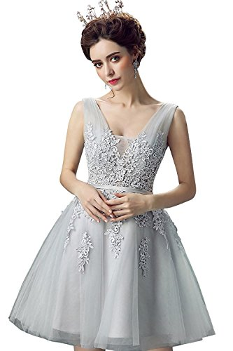 Robe de Soirée pour Mariage Chic Elégante Courte avec Appliques Evasée avec Dentelle en Tulle par MisShow Gris