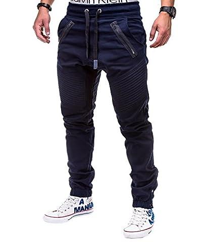 BetterStylz VenomBZ Biker Chino Jogger Harem Style Pant in div. Farben (S-5XL) (XXXXX-Large, Navy Blau)