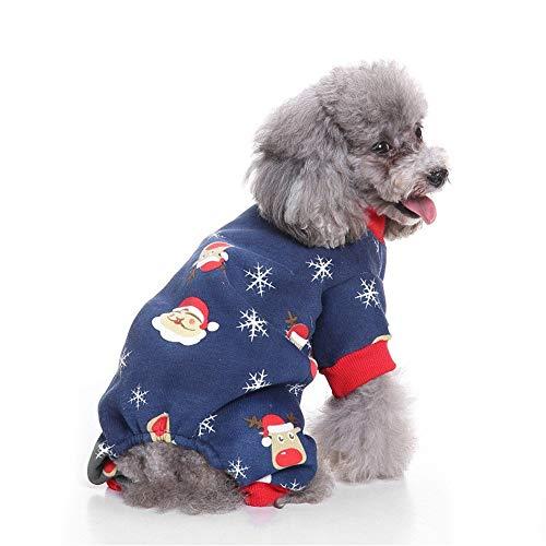 Andre Link Haustier Weihnachtskostüm, Herbst/Winter Hund Katze Alter Mann Schneeflocke Haustier Weihnachten Coole und süße Kleidung (XL, Navy)