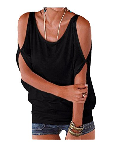 Imixcity Women's Oversized Cold Shoulder Blouse Batwing Lace-up Back T-Shirt Top …