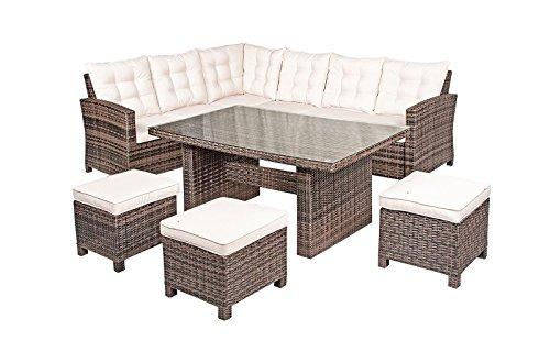 Nevada rattan garden furniture 6 seat corner sofa glass for Rattan garden furniture seat covers