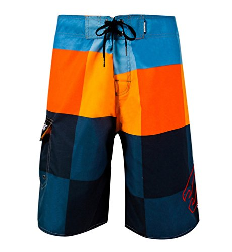 CHENGYANG Herren Shorts Badehose Badeshorts Surfwear Streifen Schnelltrocknend Verstellbarer Bund Orange 1