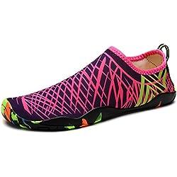 DoGeek Chaussures aquatiques Homme Femme Pour Sport Aquatiques de Plage Et D'eau - barefoot Aqua Chaussures - Rose - 42 EU