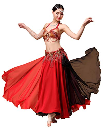 Grouptap Rot schwarz tribal Gypsy motony Lange Bauchtanz Maxi Schlitz sexy Kleid Rock Frauen mädchen Folk bauchtänzerin kostüm (nur Rock) (Rot & Schwarz, EU 34-44 / - Kostüm Mit Langen Schwarzen Kleid