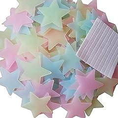 Idea Regalo - Baanuse adesivi luminosi a forma di stelle, da parete, per cameretta dei bambini, per grandi e piccoli,fluorescenti e brillanti al buio, 200 pz, Assortito