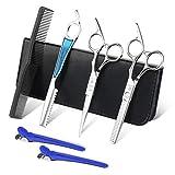 Forbici professionali per parrucchieri 6.0'Kit forbici da taglio in acciaio inox con rasatura Vajana, scatola di presentazione, un pettine nero e una clip per capelli