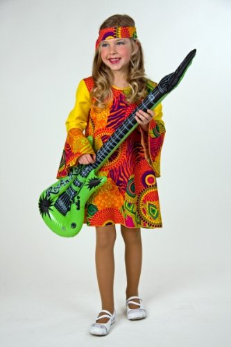 Kinderkostüm Hippie-Mädchen Kleid mit Stirnband Gr.152/164 (Flower Power Hippie Mädchen Kostüme)
