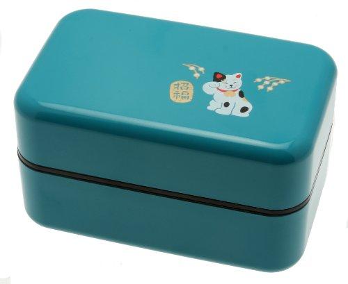 Kotobuki 2-Tiered Bento Box, Maneki Neko Lucky Cat, Teal by Kotobuki (Kotobuki-bento)