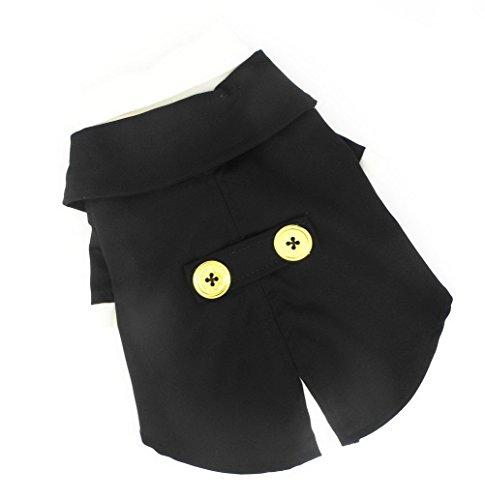 zunea Formale Hund Tuxedo Kostüm Anzug Holloween Pet verkleiden Hochzeit Party Kleidung Cosplay Zubehör, für kleine Welpen Hund Katze (Hochzeit Schwarz Tuxedo Formale Boy)