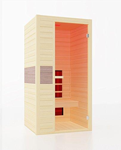 INTERLINE 42250010 Infrarot-Wärmekabine, 1 Person, Kanadischer Hemlock inkl. Bluetooth Media Player, 98,6 x 93,8 x 190 cm (Outdoor-infrarot-sauna)