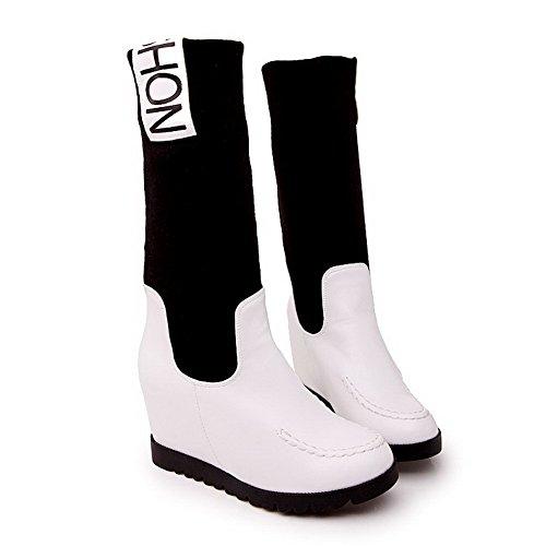AgooLar Damen Gemischte Farbe Pu Leder Hoher Absatz Ziehen Auf Rund Zehe Stiefel Weiß