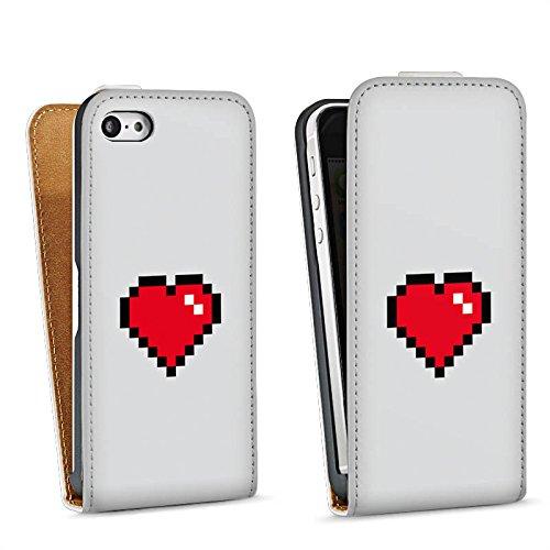Apple iPhone 5s Housse Étui Protection Coque C½ur 8 bit C½ur Amour Sac Downflip blanc