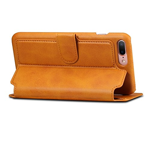 Für iPhone 7 Plus Rindsleder Textur Horizontale Flip Stand Leder Geldbörse mit Halter & Crad Slots & Wallet by diebelleu ( Color : Brown ) Brown