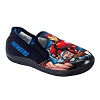 Boys Marvel Avengers Captain America Iron Man Thor Fur Lined Slippers Size 10-3