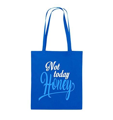 Comedy Bags - Not today Honey - Jutebeutel - lange Henkel - 38x42cm - Farbe: Schwarz / Weiss-Neongrün Royalblau / Weiss-Hellblau