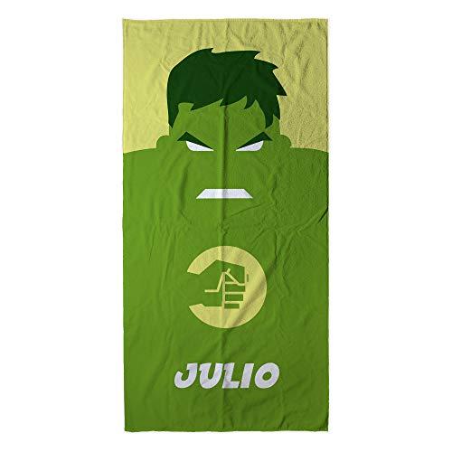 Lolapix Handtuch Strand Superheld personalisiert mit Namen | Kleinkind Mädchen Kind Handtuch | Originelles Geschenk | Verschiedene Designs und Größen | Hulk