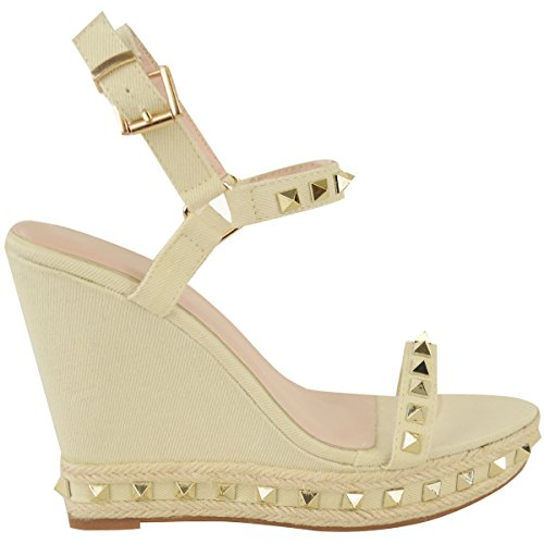 Sandales plateformes à brides - semelle compensée - détails clous - été - femme Denim crème / beige clair / bobo