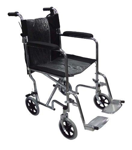 JSB W04 Imported Folding Steel Wheelchair (Silver-Blue)