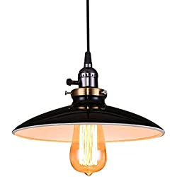 Lightess Lámpara de Techo Lámpara Vintage Lámpara Industrial UL Led Lámpara Colgante Retro Lámpara de Comendor, Adecuado para Restaurante, Bar, Cafetería, etc, Color Negro