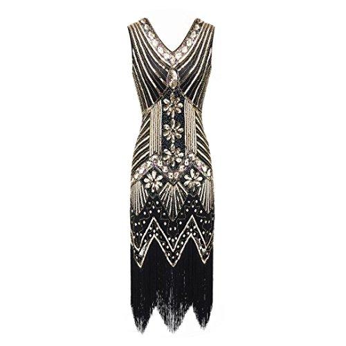 Amphia Damen Kleider Vintage Cocktail Party Kleid 1920er Gatsby Stil Perlen und Pailletten Besetztes Kleines Schwarzes (Gold, L)
