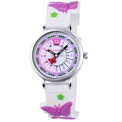 Zeiger Mädchenuhr Kinder Armbanduhr Mädchen Schmetterling Kinderuhr Lernuhr Lila Süße Uhr zum Uhrzeit Lesen Lernen für Kinder