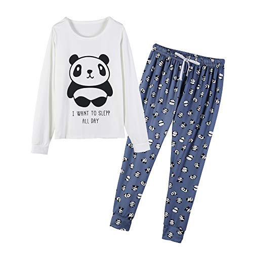 b11fcfa49b1 MyFav Women's Sleepwear Long Sleeve Top and Pants Pyjama Set Panda Print  Nighty Blue