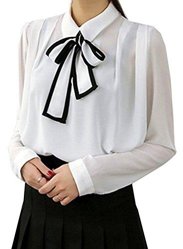 ACHICGIRL Women's Bow Tie Collar Long Sleeve Chiffon Blouse white
