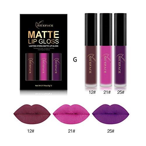 Moresave 3 Farben / Set Matt Flussige Lippenstifte Set Langlebig Wasserdicht Bilden Pigments Samt...