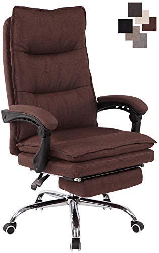 CLP Bürostuhl Power Mit Stoffbezug I Ergonomischer Bürosessel Mit Verstellbarer Sitzhöhe I Drehstuhl Mit Ausziehbarer Fußablage Braun