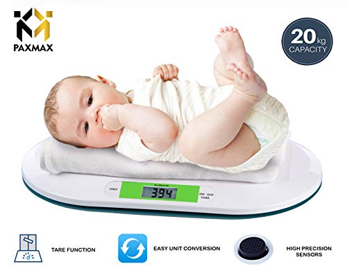 PAXMAX Electronic Digital Baby Infant Pet Bathroom Weighing Scale- 20 Kgs, White
