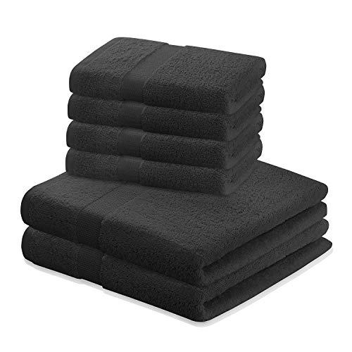 DecoKing 6er Set Baumwolle Qualität 525g/m² 4 Handtücher 50x100 cm und 2 Badetücher 70x140 cm schwarz saugfähig Marina