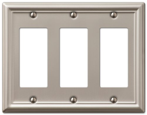 AmerTac 149RRRBN Chelsea Steel Triple Rocker-GFCI Wallplate, Brushed Nickel by AmerTac -