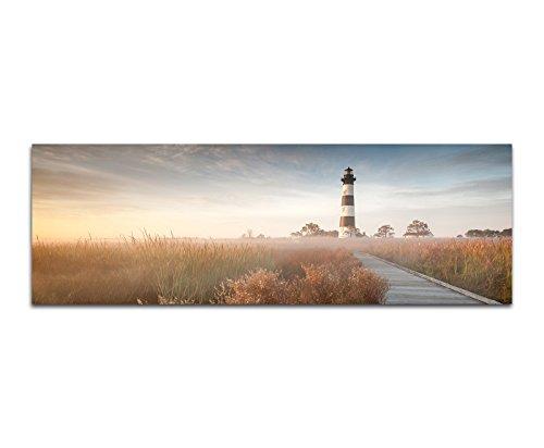 Paul Sinus Art Panoramabild auf Leinwand und Keilrahmen 150x50cm Wiesen Holzweg Leuchtturm Nebel Herbst Herbst Nebel
