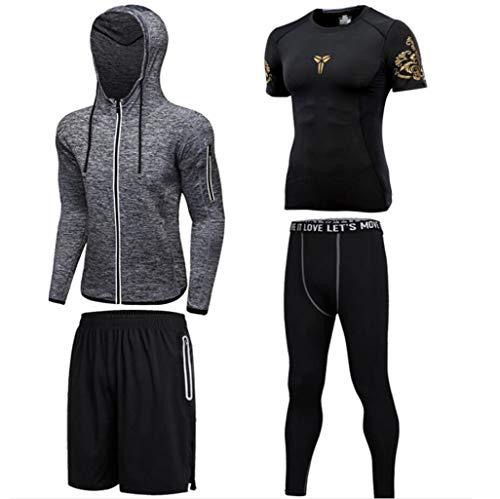 CHENGXINGF Trainingsbekleidung für Herren, vierteiliger Sportanzug, schnell trocknende Strumpfhose, Laufanzug (Farbe : Gray, größe : XL)