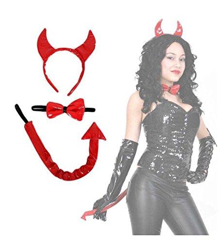 G. Teufels-Set (Schwanz, Schleife, Haarreif mit Hörnern), rot, Lack, Devil, Satan, Teufelin, Halloween ()