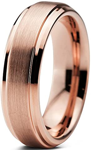 Tungsten Wedding Band Ring 6mm for Men Women Comfort Fit 18K Rose Gold Plated Beveled Edge Brushed Polished Lifetime Guarantee Size 61