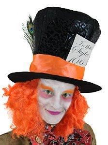 ILOVEFANCYDRESS 1X MAD Hatter Hut MIT ORANGE FARBENDEN Haaren AN BEIDEN Seiten DER PERÜCKE UND Einer Karte MIT DER Aufschrift= IN This Style 10/6= FÜR Alice IM WUNDERLAND (Alice Im Wunderland Der Hutmacher)