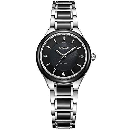 NAKZEN Frauen Luxus Chronograph Japanische Quarz Armbanduhren Mit Wasserdichtem Saphirglas Objektiv Keramik Edelstahl Armband Analoge Uhr (Saphir-diamant-jubiläum-band)