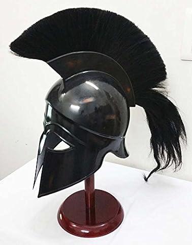 Greek Corinthian Helmet Ancient Medieval Armor Knight Spartan Replica Helmet with black plume by Shiv Shakti