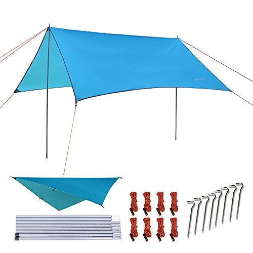 NATUREFUN Incerata Impermeabile per Tenda Amaca 3 × 3 m Esterno Campeggio Rifugio Spiaggia Parasole Tappetino Picnic Sopravvivenza Antistrappo Leggero & Compatto Facile da Installare Rainfly