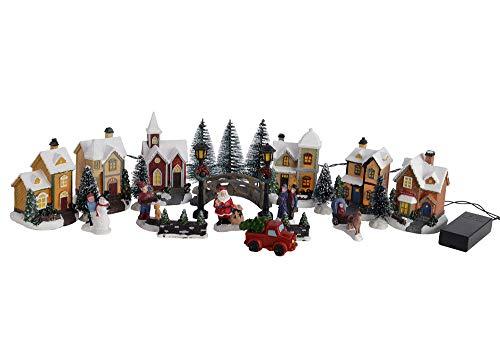 zeitzone Weihnachtsstadt Winter Village mit LED-Beleuchtung 25 teilig Weihnachtsdorf