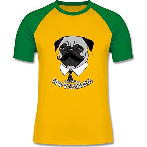 Statement Shirts - Movember Mops - zweifarbiges Baseballshirt für Männer Gelb/Grün
