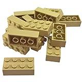 LEGO -  50 Steine in Beige / Tan / Sandfarben / Creme mit 2x4 Noppen