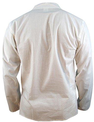 Little Kathmandu Herren Hemp Baumwolle Plain Grandad Kein Kragen Tasche Hemd Weiß - Ice White Cotton