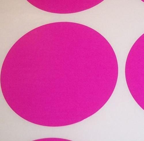 Pack Of 100 Grande 63mm Redondo / Circular Código De Color Lunares En blanco Precio Pegatinas Etiquetas - Elige Tu Color/s (Rosa Oscuro)