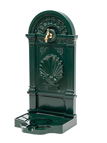 Standbrunnen 83cm Waschbecken Alu Brunnen Waschplatz Wandbrunnen antik Stil grün