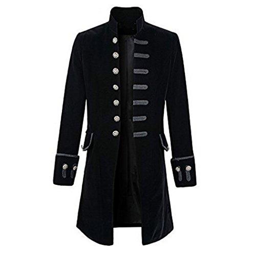 Abrigo largo negro con muchos botones